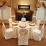 IVORY ROUND TOP 100% POLYESTER CHAIR COVER