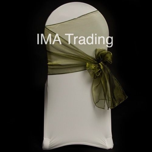 Olive Green Organza Chair Cover Sash 35cm