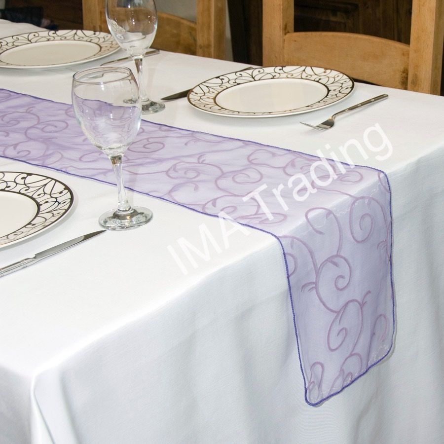 Violet Flocked Organza Table Runner